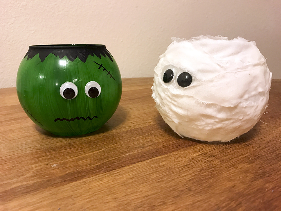 These Frankenstein and mummy jars are super easy and fun to make.