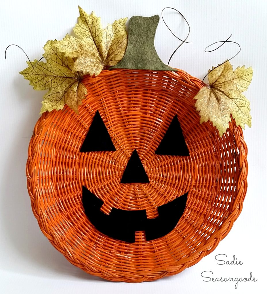 This wicker pumpkin craft was featured at Party in Your PJs link party.