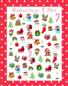 Here is a free printable for a fun Christmas I Spy activity.