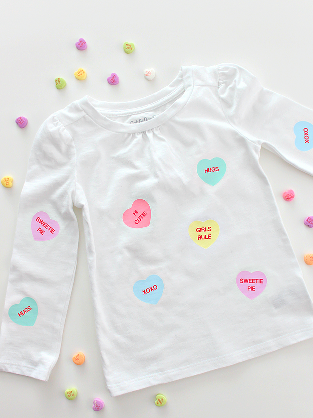 This conversation heart shirt was featured at Party in Your PJs on Grandma Ideas.