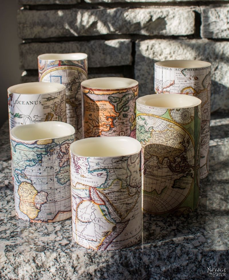 Thes antique world map decoupaged candles were featured in Party in Your Pajamas link party.