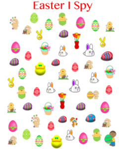 Get your free printable for an Easter I spy activity for your kids!
