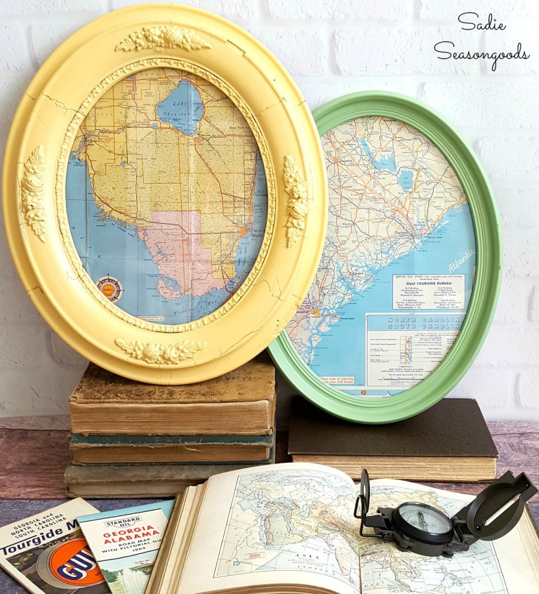 This antique frame with an old map was featured on Party in Your PJs #153.