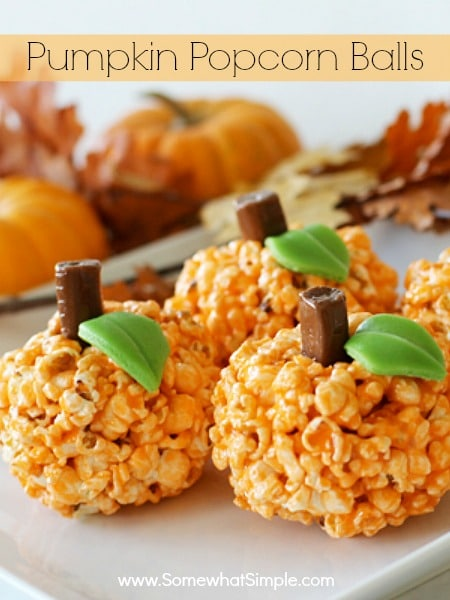 These pumpkin popcorn balls were featured at the Party in Your PJs link party.